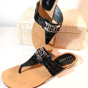Pesaro Black Patent Leather Thong Sandle sz7.5